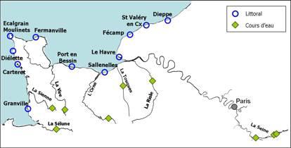 Figure 4 : Localisation des sites de prélèvement le long du littoral et des principaux cours d'eau du bassin Seine Normandie