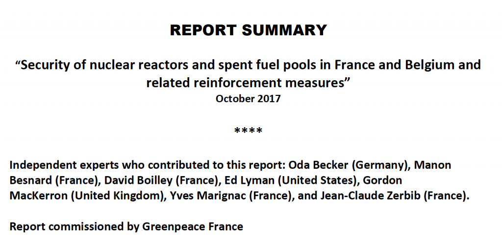 ACRO contributed to Greenpeace s report on the security of nuclear reactors  and spent fuel pools. For obvious reasons b2e47e135ce