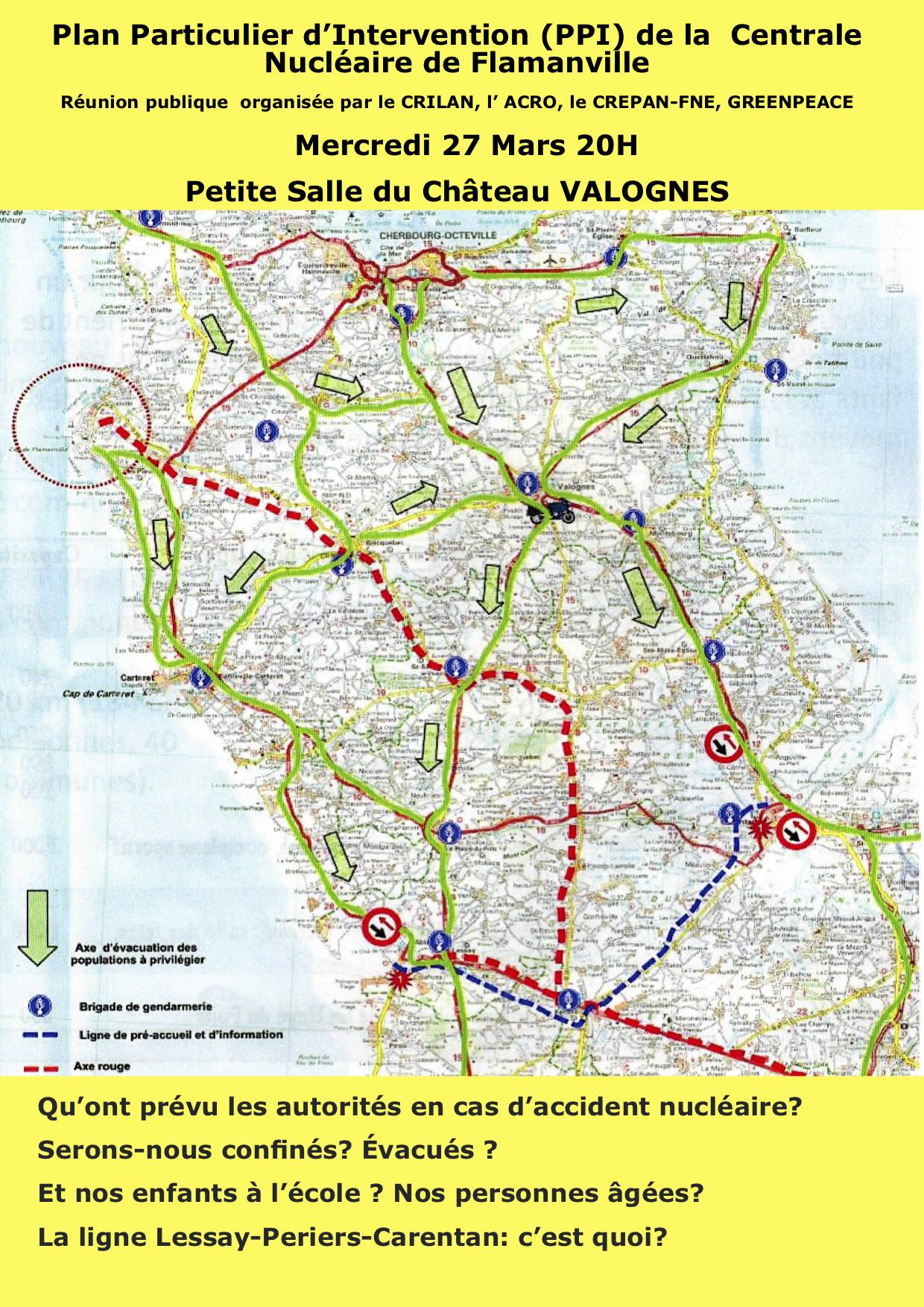 Réunion publique sur le Plan Particulier d'Intervention (PPI) de Flamanville @ petite salle du chateau, Valognes (50)